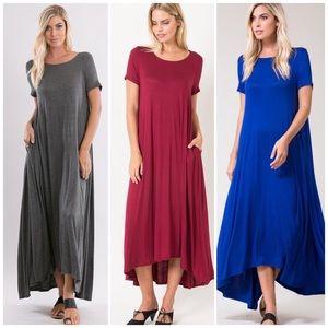 Dresses & Skirts - Mocha Short Sleeve Maxi Dress